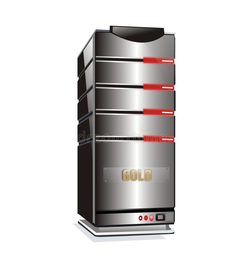 Torretta del server ospite dell'oro illustrazione di stock