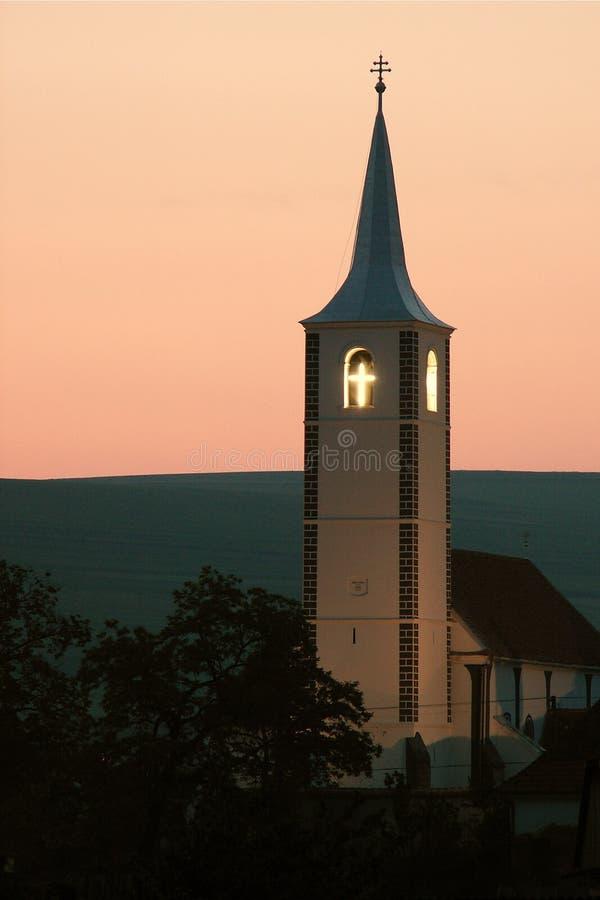 Torretta di chiesa in Transylvania fotografia stock
