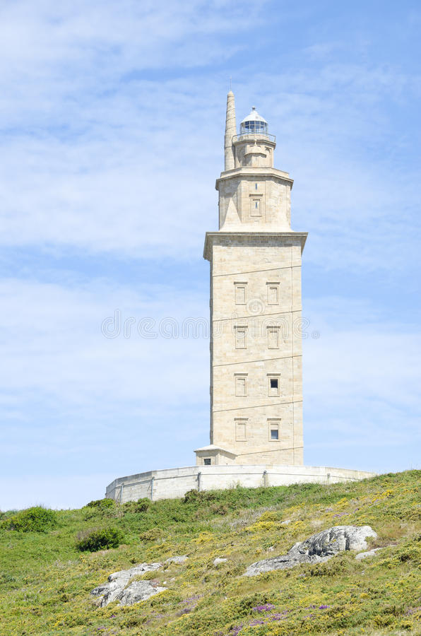 Torretta di Ercole, un Coruña, Galizia, Spagna fotografia stock libera da diritti