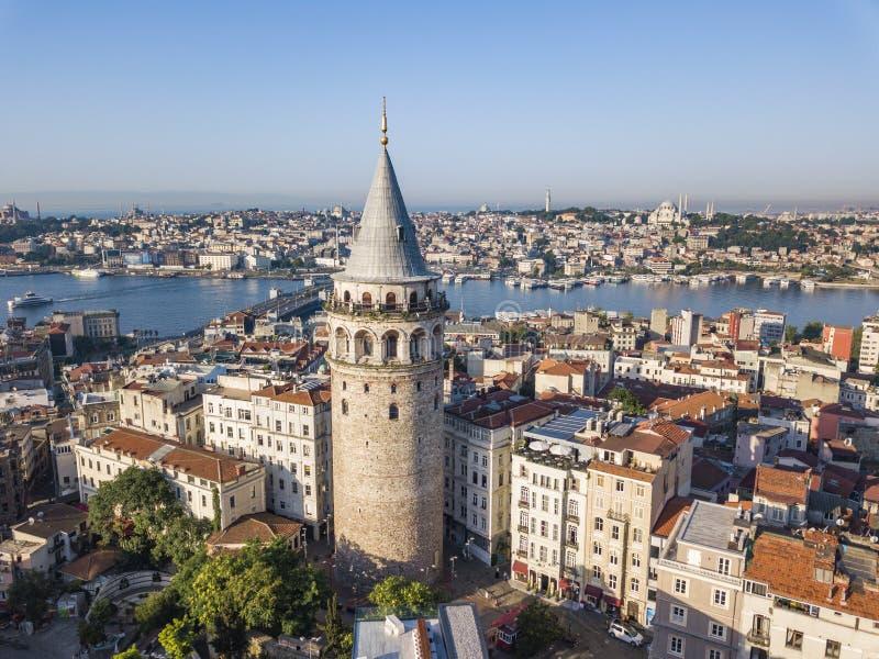 Torretta di Galata Vista aerea della città di Costantinopoli immagine stock