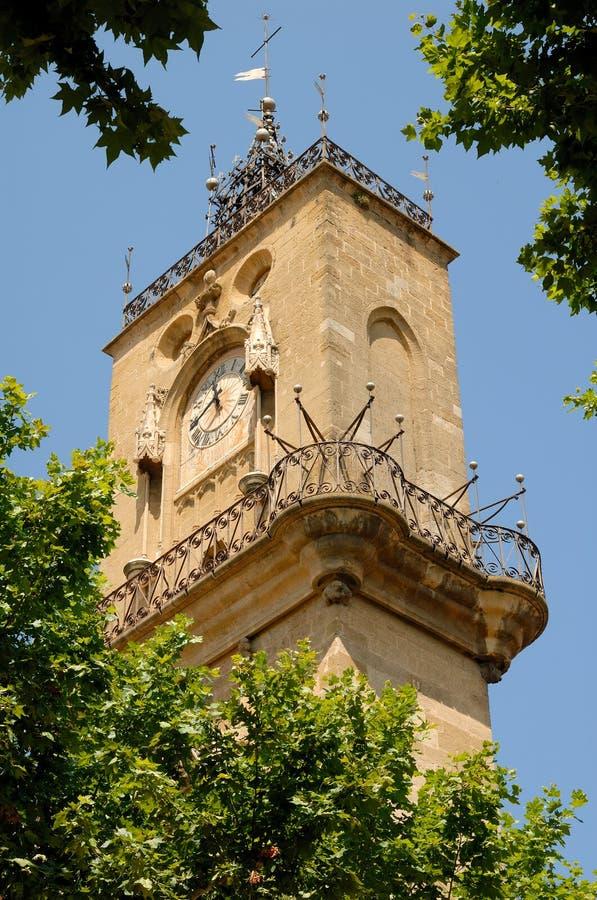 Torretta di orologio a Aix-en-Provence, Francia fotografia stock