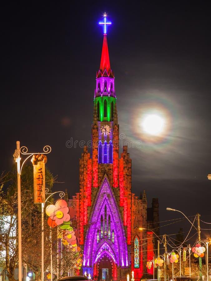 Torretta di orologio della chiesa di Lourdes Canela Brasile fotografie stock libere da diritti
