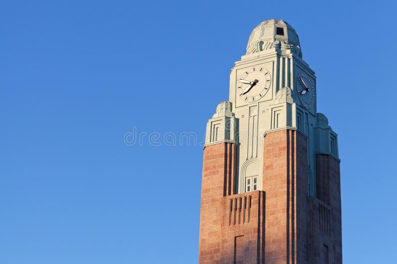 Torretta di orologio della stazione ferroviaria centrale di Helsinki fotografia stock