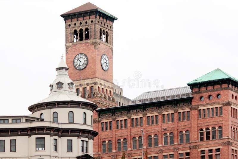 Torretta di orologio storica a Tacoma fotografie stock
