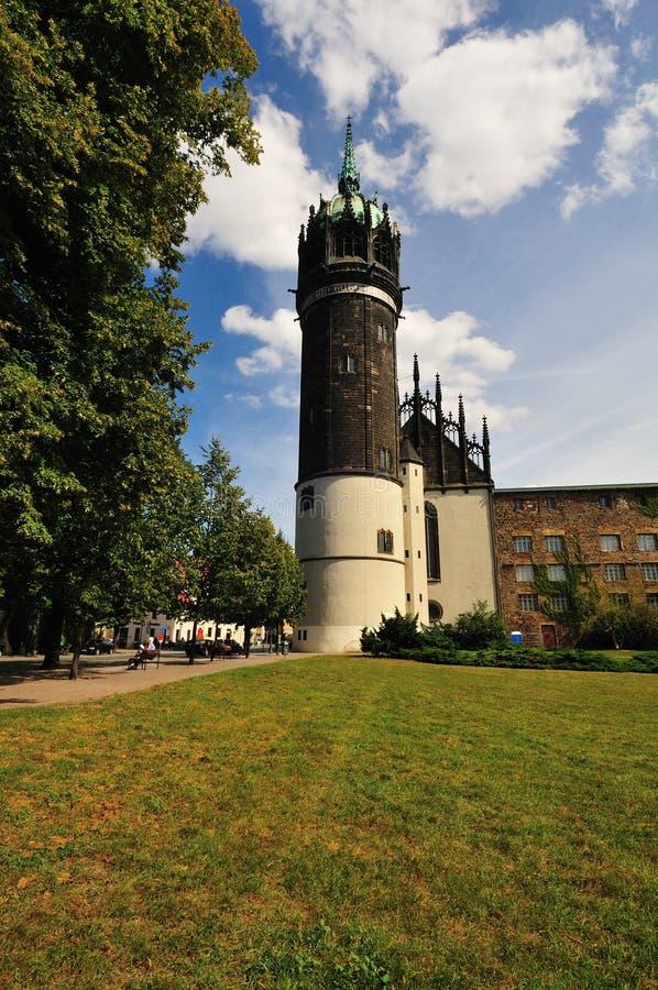 Torretta di Schlosskirche Wittenberg fotografie stock libere da diritti