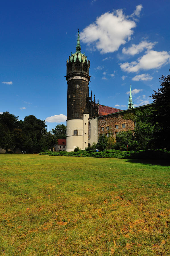 Torretta di Schlosskirche Wittenberg immagini stock libere da diritti