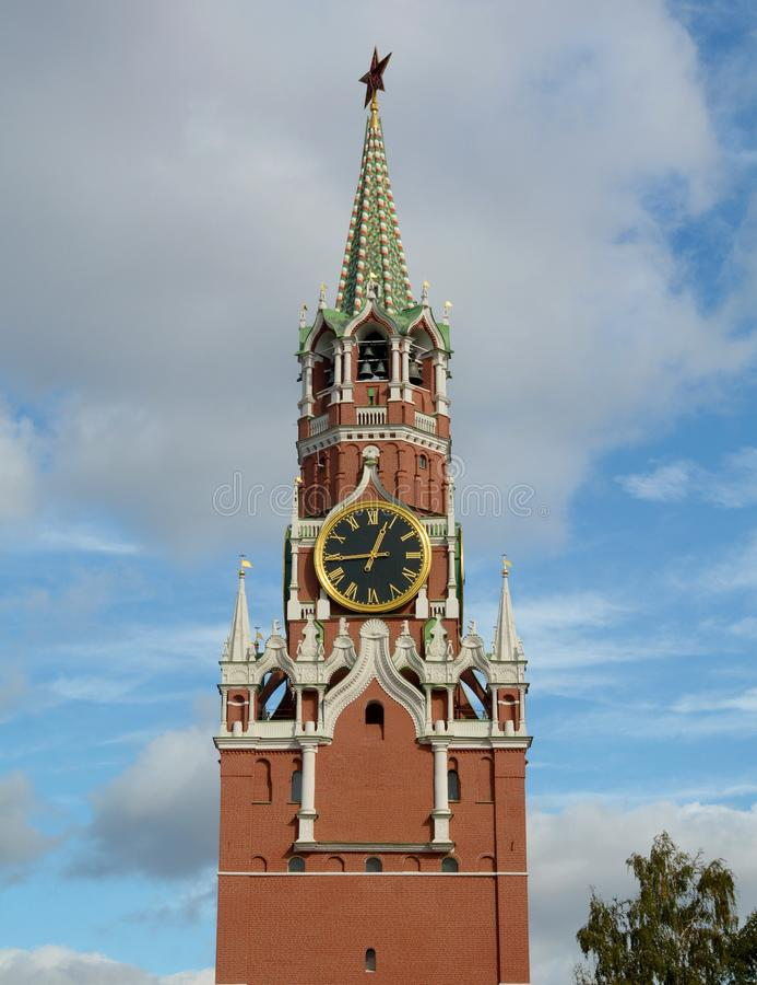 Torretta di Spasskaya a Mosca Kremlin immagine stock libera da diritti