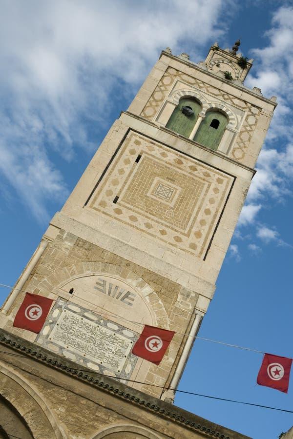 Torretta di una moschea a Tunisi fotografia stock