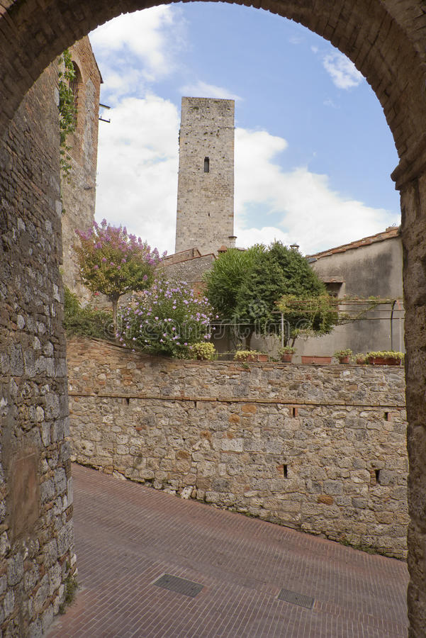 Torretta in San Gimignano fotografie stock libere da diritti