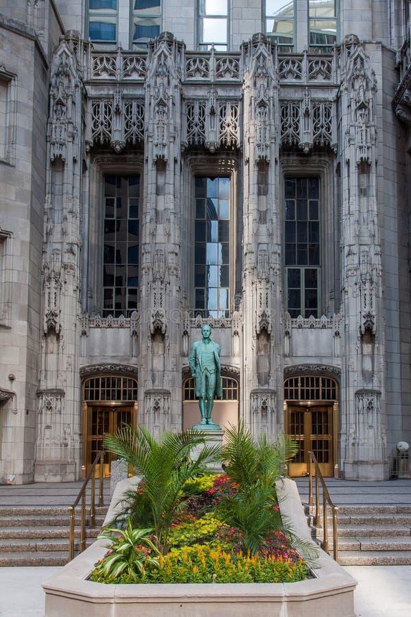 Torretta sana Chicago della tribuna della statua di Nathan fotografia stock