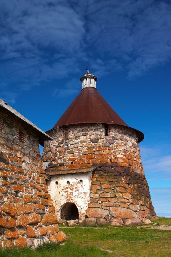 Torrette del monastero di Solovetsky fotografia stock libera da diritti
