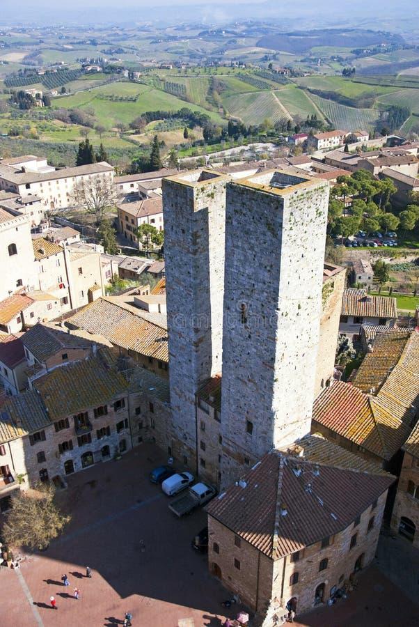 Torrette del San Gimignano - Italia toscana fotografie stock