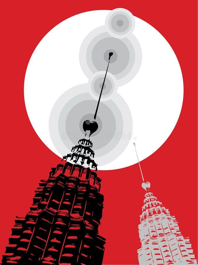 Torrette di Petronas su colore rosso illustrazione di stock