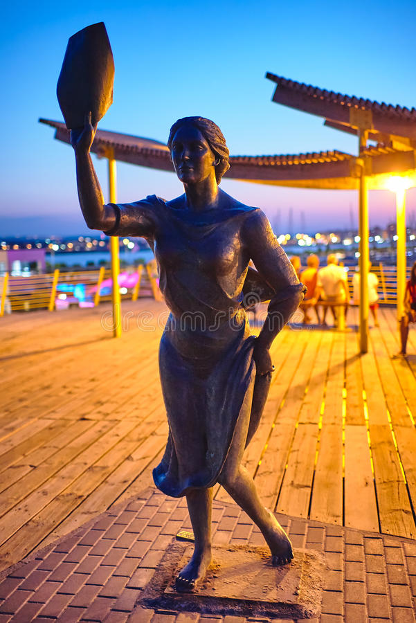 Torrevieja, Spain - July 28, 2015: Monument to the fisherman`s wife. stock images