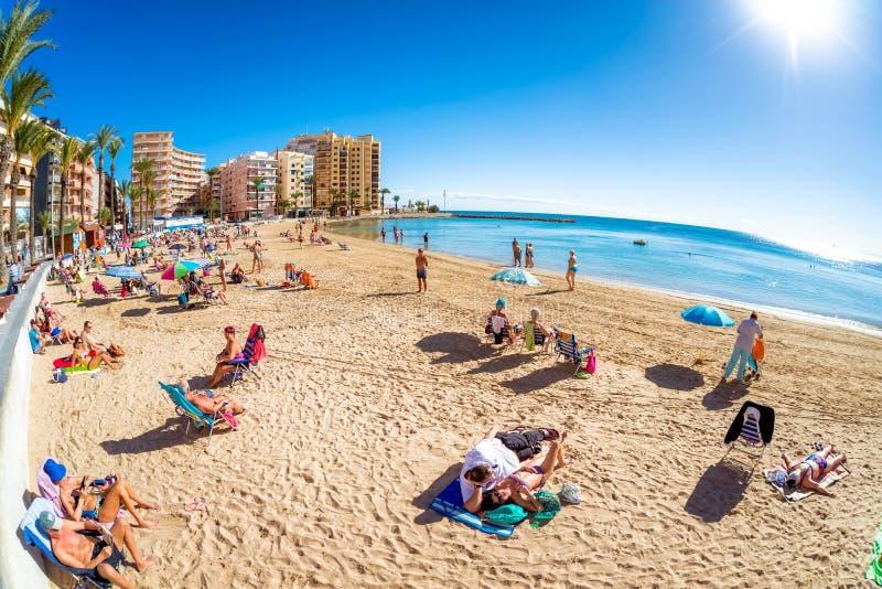 TORREVIEJA, SPANIEN - 13. NOVEMBER 2017: Panorama des Strandes von stockbild