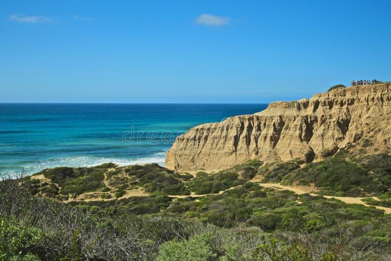 Torrey Pines Park-de klippen van het de Nationale Reservepark van de staat stock afbeeldingen