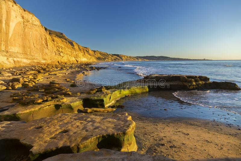Torrey Pines State Beach La Jolla San Diego California. Scenic Panoramic Landscape of Distant La Jolla Shores and Pacific Ocean from Torrey Pines Beach north of royalty free stock photos