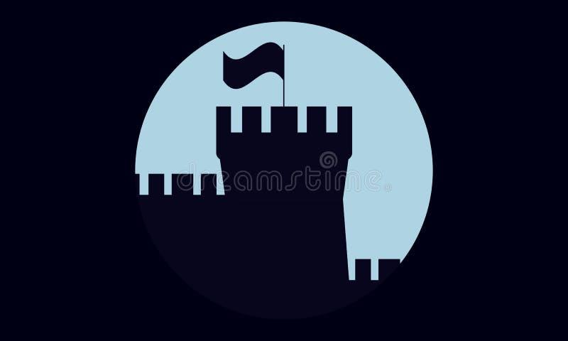 Torri del castello con la bandiera illustrazione di stock