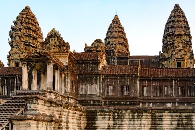 Torri del tempio Angkor Wat complesso, tempio antico, Siem Reap, Cambogia immagini stock