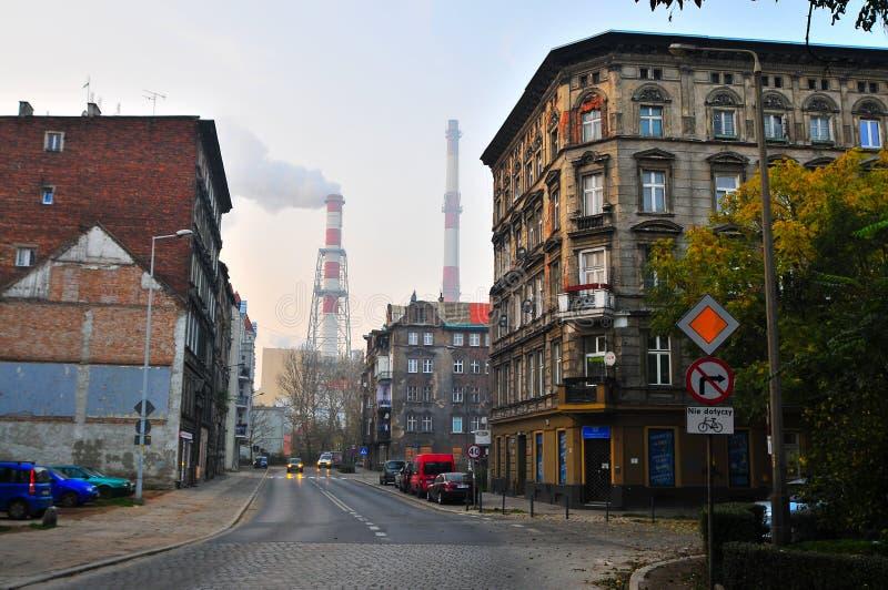 Torri dell'impianto termico di Wroclaw immagini stock libere da diritti