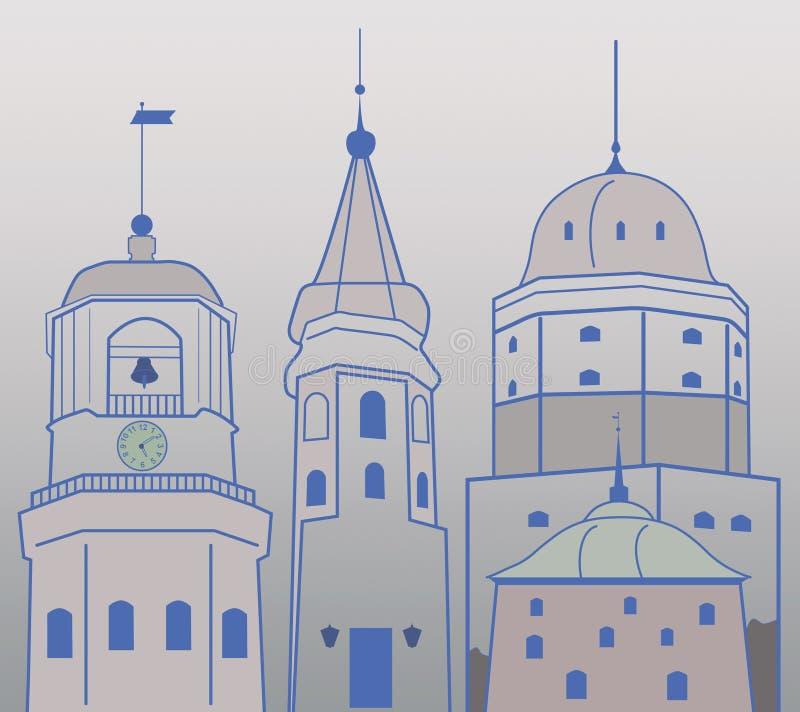 Torri della città medievale royalty illustrazione gratis