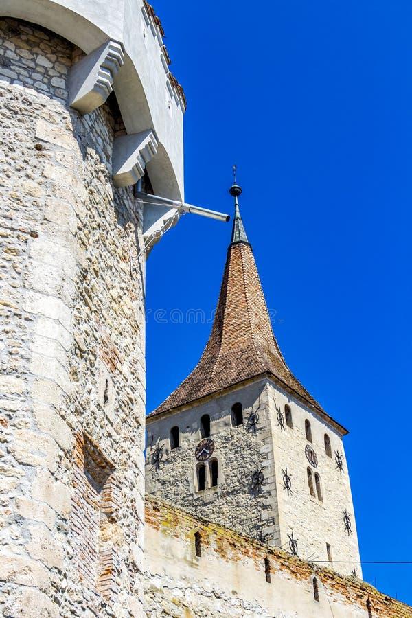 Torri della cittadella di Aiud in Romania immagine stock libera da diritti