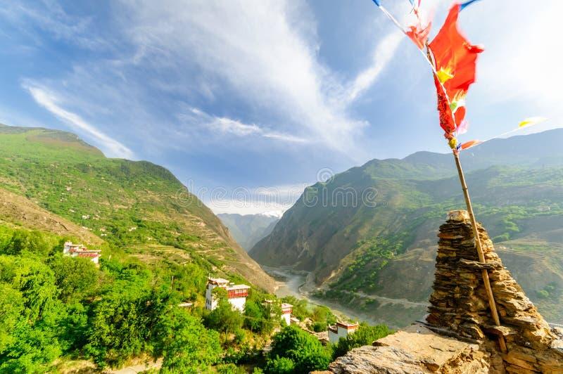 Torri della difesa del villaggio Soupo di Danba del tibetano immagini stock libere da diritti