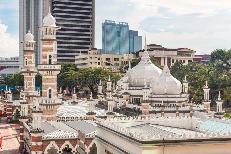 Torri della moschea e dell'ufficio di Jama in Kuala Lumpur immagini stock libere da diritti