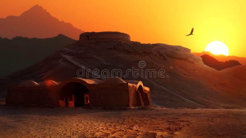 Torri di silenzio nella provincia iraniana di Yazd L'Iran antico persia fotografia stock libera da diritti