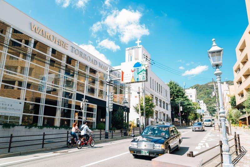 Torroad som shoppar gatan i Kobe, Japan royaltyfria bilder