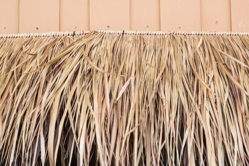 Torrt abstrakt begrepp halmtäcker taket av det traditionella thailändska huset fotografering för bildbyråer