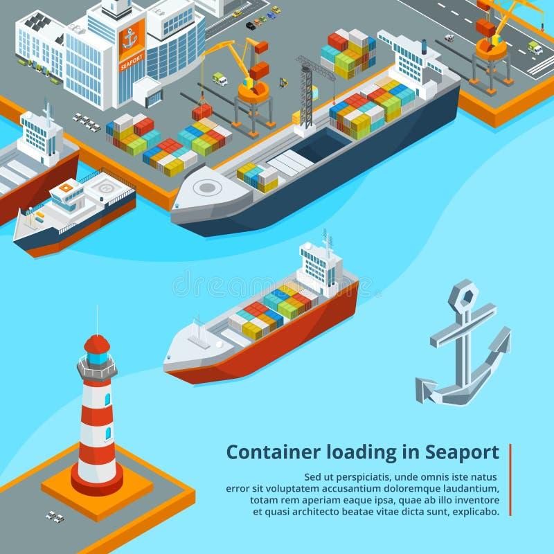 Torrt lastfartyg med behållare Maritimt industriellt arbete Isometriska illustrationer vektor illustrationer