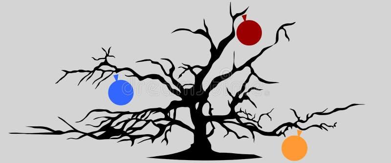 Torrt träd med tre äpplen vektor illustrationer