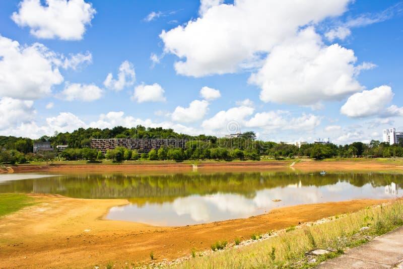 Torrt vattenlandskap för fördämning arkivbild