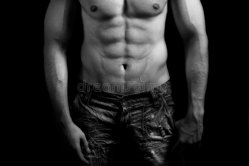 Torse d'homme musculaire avec l'abdomen sexy photos stock