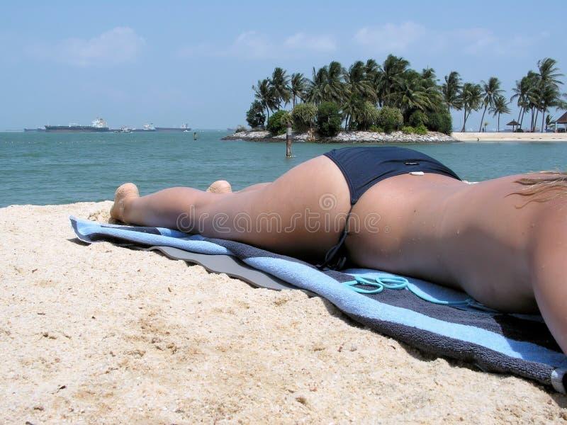 Torse nu de Madame s'exposant au soleil photo libre de droits