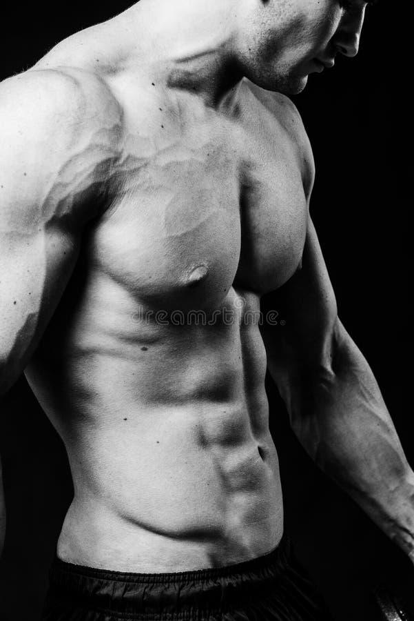 Torse sexy musculaire de jeune homme sportif avec la fin parfaite d'ABS  Noir et blanc d'isolement sur le fond noir images libres de droits