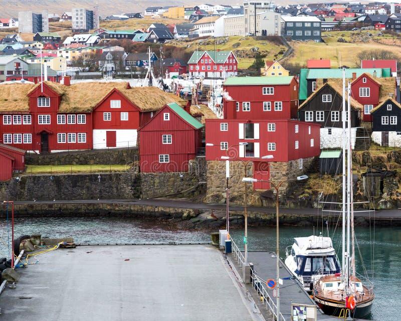 Torshavenhaven met jachten stock afbeelding