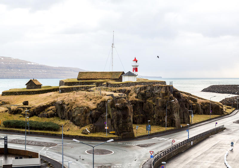 Torshavn droga i latarnia morska fotografia stock