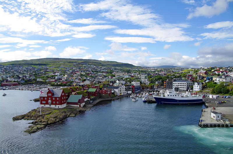 Torshavn old town and habor royalty free stock images