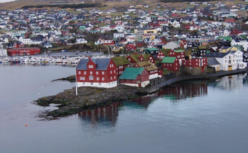 Torshavn, Tinganes-mening de Faeröer royalty-vrije stock fotografie