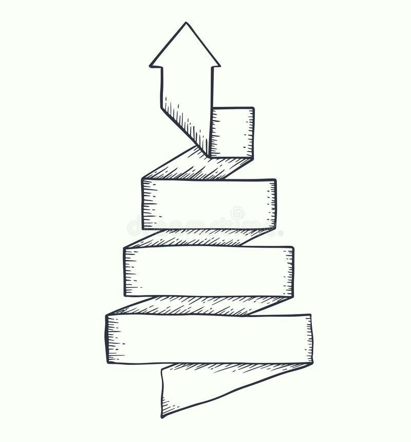 Torsión de la flecha para arriba dibujada stock de ilustración
