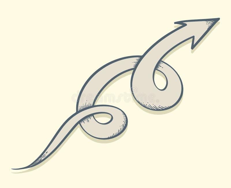 Torsión dibujada flecha para arriba libre illustration