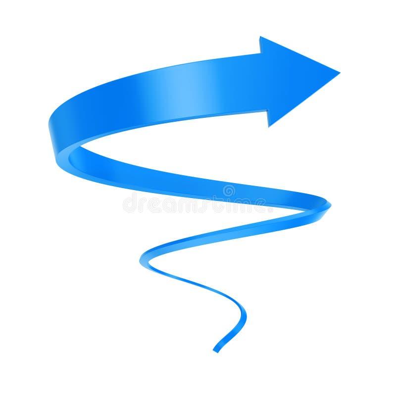 Torsion en spirale bleue de flèche jusqu'au succès rendu 3d illustration de vecteur