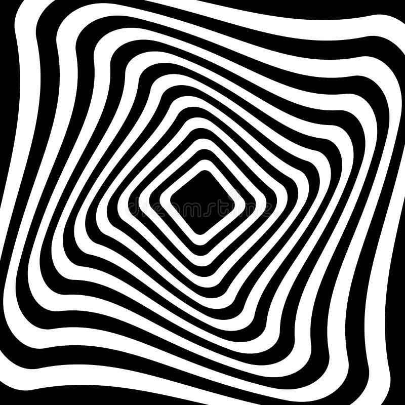 Torsion, forme en spirale avec des cercles Élément pointillé tournant Résumé illustration stock