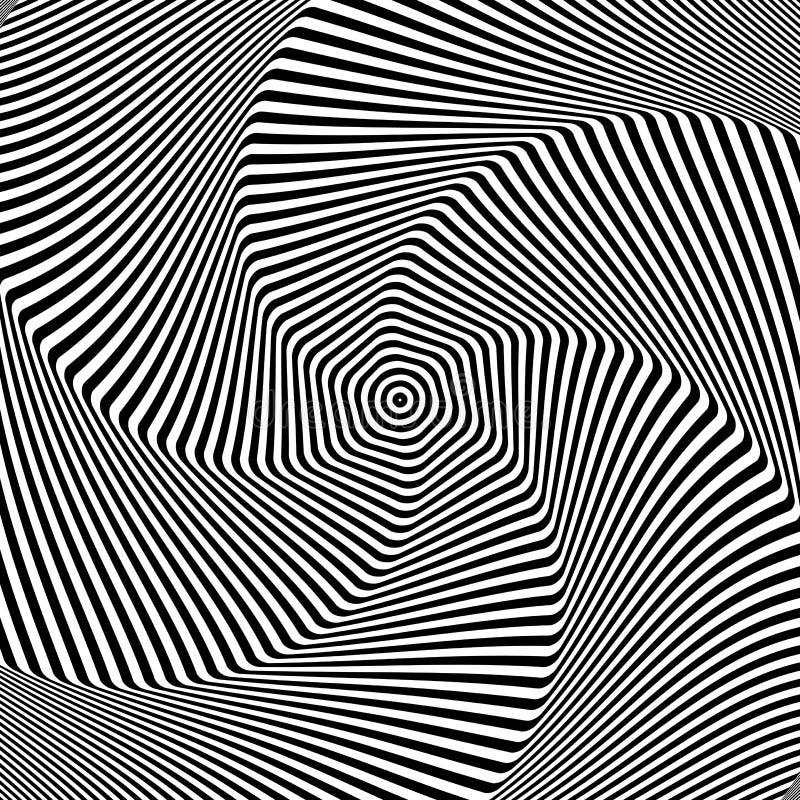 Torsion rotation movement. Abstract op art design stock illustration