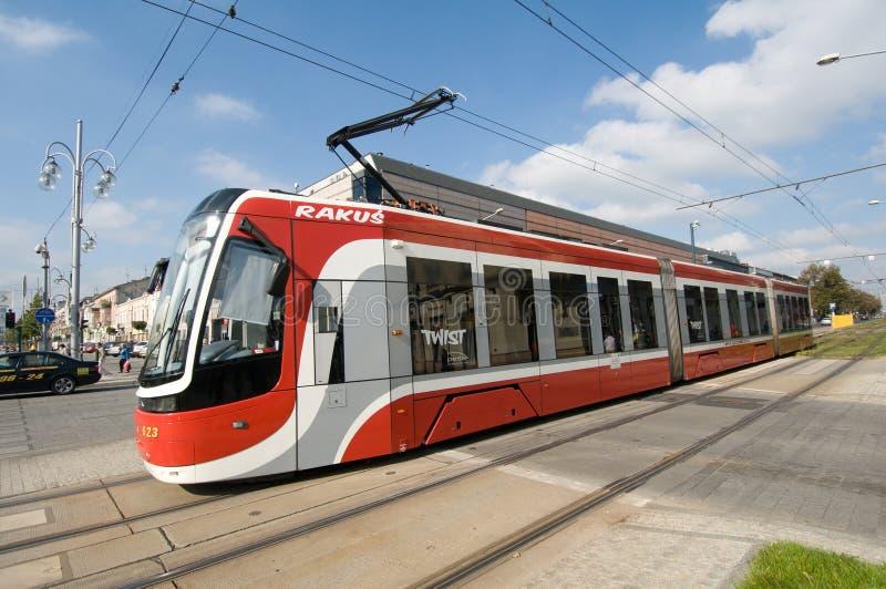 Torsione del tram PESA in CzÄ™stochowa fotografia stock