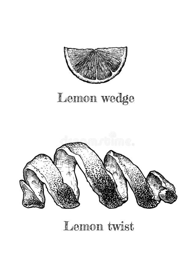 Torsione e cuneo del limone illustrazione vettoriale