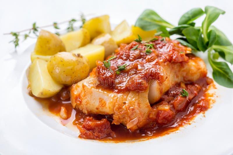 Torsk eller lyrtorsk som lagas mat i tomat- och timjansås royaltyfria foton