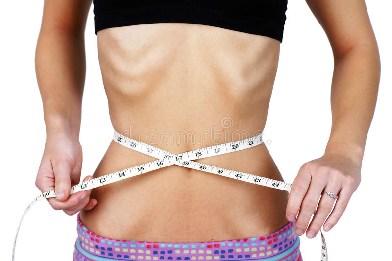 Torso Of Anorexic Young Woman Stock Photos